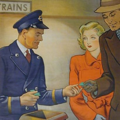 "Detail from ""At Your Service"" poster (copyright London Transport)."