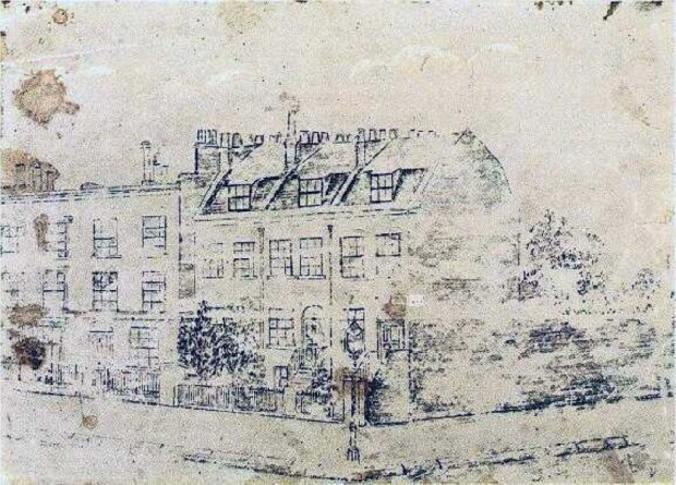 Sketch of 87 Hackford Road by Van Gogh. This drawing was lost for many years before being found in a box in an attic belonging to the Great Granddaughter of Ursula Loyer; Van Gogh's landlady.