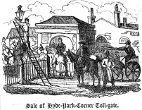 Hyde Park toll gate, in the process of being auctioned off following the scrapping of the turnpikes.