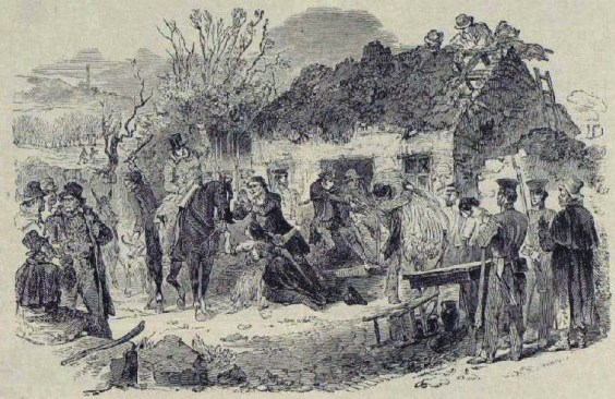 Scene depicting an Irish family being evicted from their home; one of the many prints owned by Van Gogh.