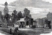 Kennington Turnpike. St Mark's Church, Kennington in the background still stands today- between Clapham Road and Brixton Road.
