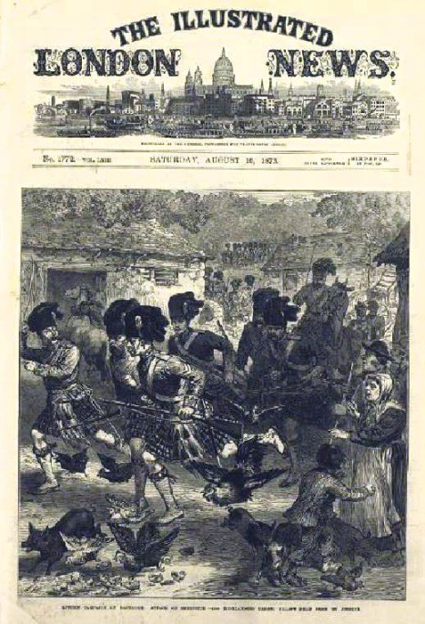 Front page from a copy of the London Illustrated News, printed in August 1873- the month Van Gogh moved to Stockwell. Here, Black Watch troops training on Dartmoor. Van Gogh was a great admirer of this detailed social realism.