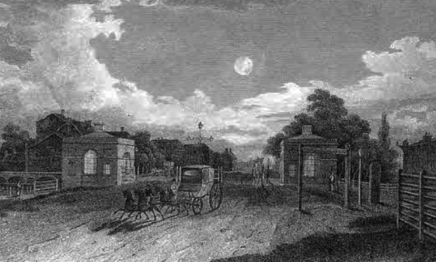 Mile End Gate, London's last major turnpike.