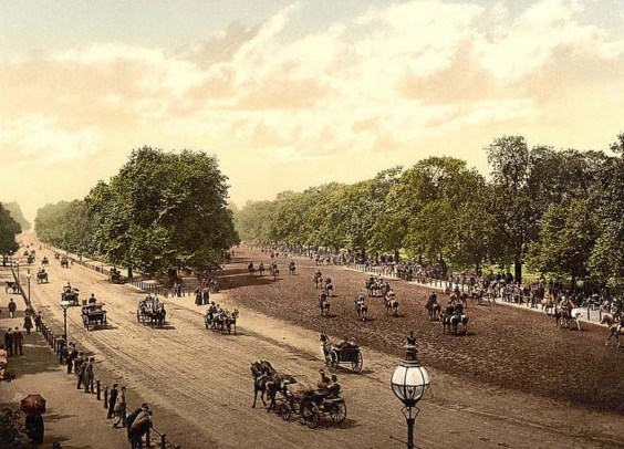 Rotten Row, Hyde Park during the late Victorian era.
