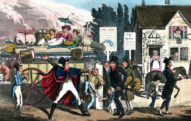 A rowdy group of travellers causing trouble at a turnpike, 1825.