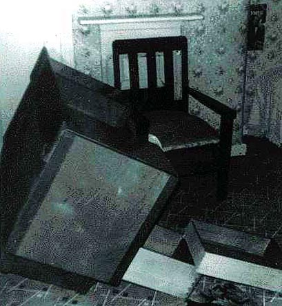 Aftermath of one of the Enfield Poltergeist's many bouts of violent activity....