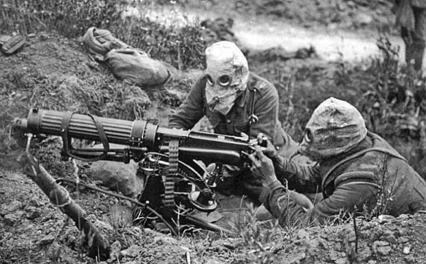 Gas masked troops from the Machine Gun Corps at the Battle of the Somme, 1916.