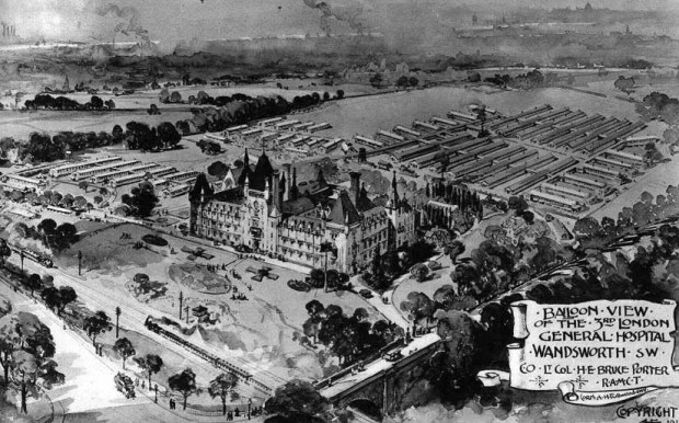 Postcard displaying the 3rd London General Hospital, Wandsworth. The railway lines, which delivered wounded troops can be seen to the south, the overflow tent-wards towards the north.