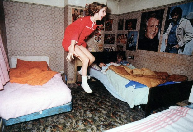 Janet, apparently being hurled from her bed during the early hours of the morning. On a lighter note, a poster featuring David Soul (star of the 1970s cop show, 'Starsky & Hutch) can be seen on the bedroom wall- he is one of the numerous celebrities I have met in the back of my cab!