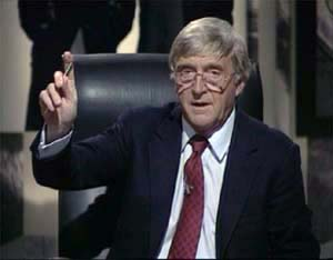 Michael Parkinson, pictured in the 'live' Ghostwatch studio, 1992.