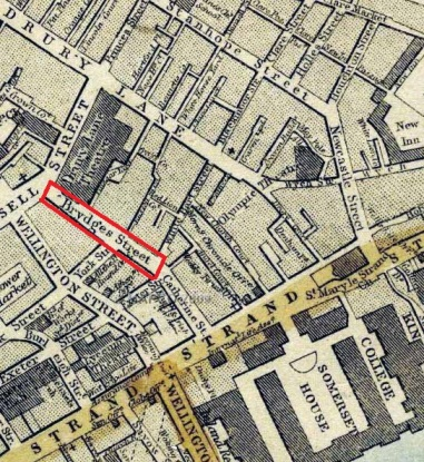 Brydges Street (now entirely named Catherine Street) on a map from 1868 (image: mapco.net)