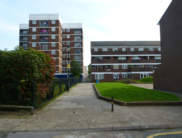 1960s flat blocks on Cyprus Street- the building on the left marks the original location of the WWI memorial.
