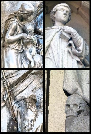 Close ups of the fountain's religious detailing.