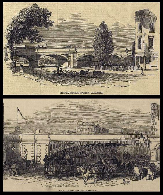 Images of the Nine Elms to Waterloo arches from 1840 (top image- 'Church Street'- now Lambeth Road. Bottom image- Westminster Bridge Road. (Images: London Illustrated News).