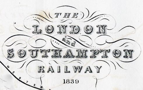 Detail from a London & Southampton Railway map, 1839.