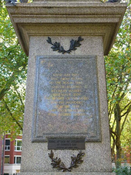Finsbury War Monument's naval dedication.