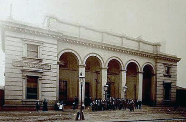 Photograph of the now long lost Nine Elms station.