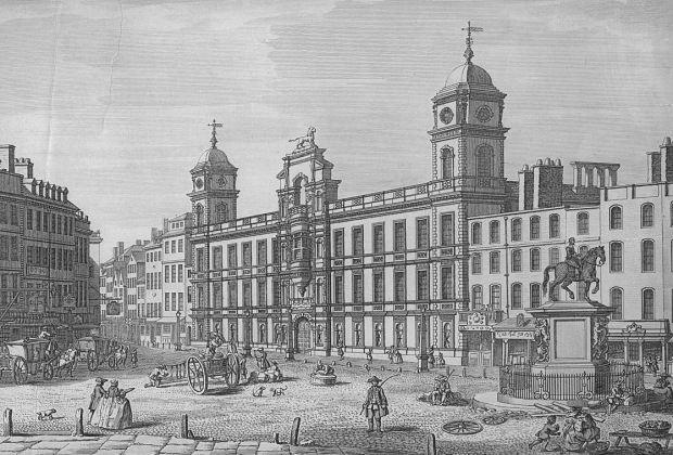 Northumberland House pictured in 1753. Note the statue of Charles I in the bottom right hand corner which remains in the same position today. The mansion was demolished in 1874 and is now covered by Northumberland Avenue.