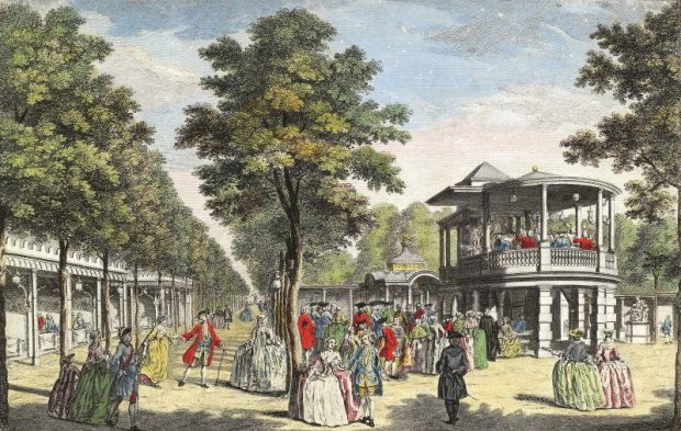 Vauxhall Pleasure Gardens which lay close to Nine Elms Station (image: History Today).
