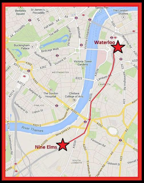 Map detailing the route of the extension from Nine Elms to Waterloo (image: Google).