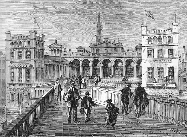 Hungerford Bridge as depicted in the 1850s.