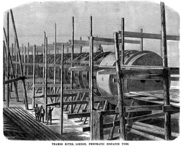One of the Waterloo and Whitehall Railway's pipes under construction on the Isle of Dogs.