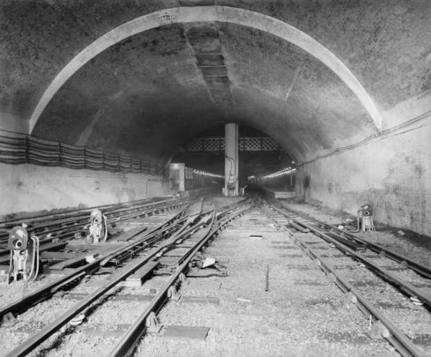 A newly constructed tunnel beneath Waterloo pictured in 1897 (image: National Railway Museum)