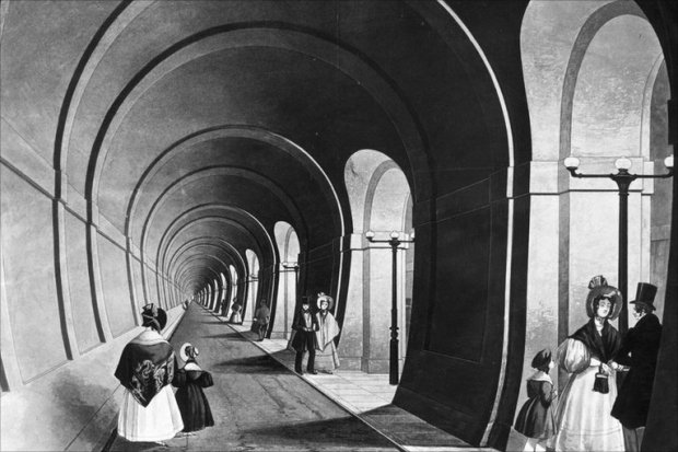 The Rotherhithe foot tunnel (now part of the London Overground)...sadly its Waterloo cousin never came to fruition.