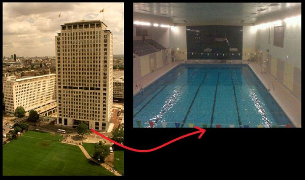 The Shell Tower.... beneath which lie remains of the Waterloo and Whitehall Railway and an Olympic sized pool! (Pool image: Copyright Ben Hollingsworth).