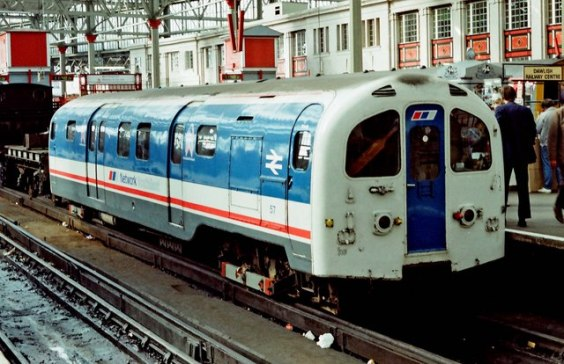 Waterloo & City carriage appearing in an open day above ground in 1988. The livery here is of 'Network South East' used from the late 1980s to the 1990s.