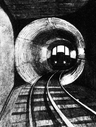 "Victorian sketch depicting the ""entrance to one of the iron tunnels."""
