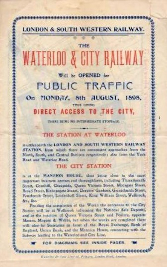 An 1890s leaflet advertising the opening of the Waterloo & City Railway (image: London Transport Museum).