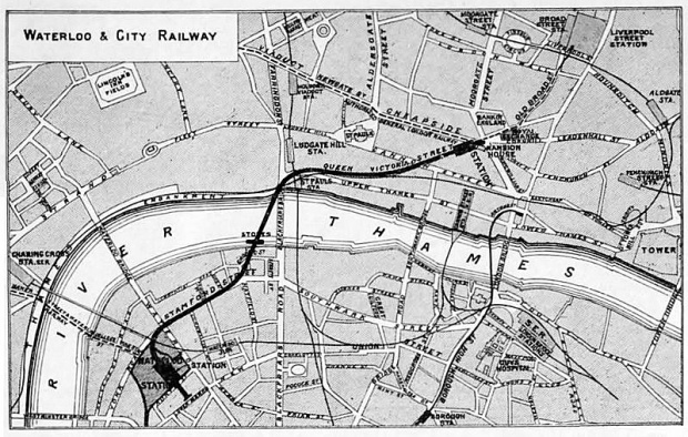 Original map of the Waterloo and City Railway.