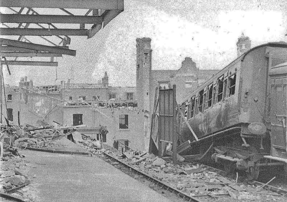 Aftermath of the air-raid which struck the Necropolis depot at Westminster Bridge Road.