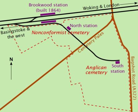 Map of Brookwood Cemetery's two internal stations (image: Wikipedia)