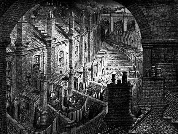 A hellish vision of Victorian London... 'Over the City by Rail' by Gustave Dore.