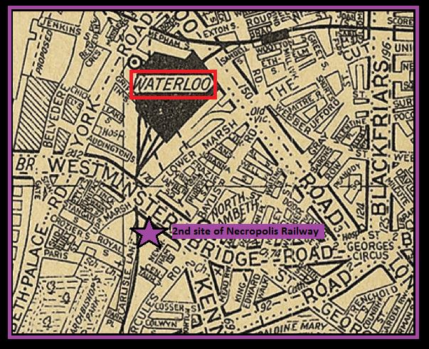 Location of the Necropolis Railway's 2nd location superimposed on a 1930s map (image: AZ)