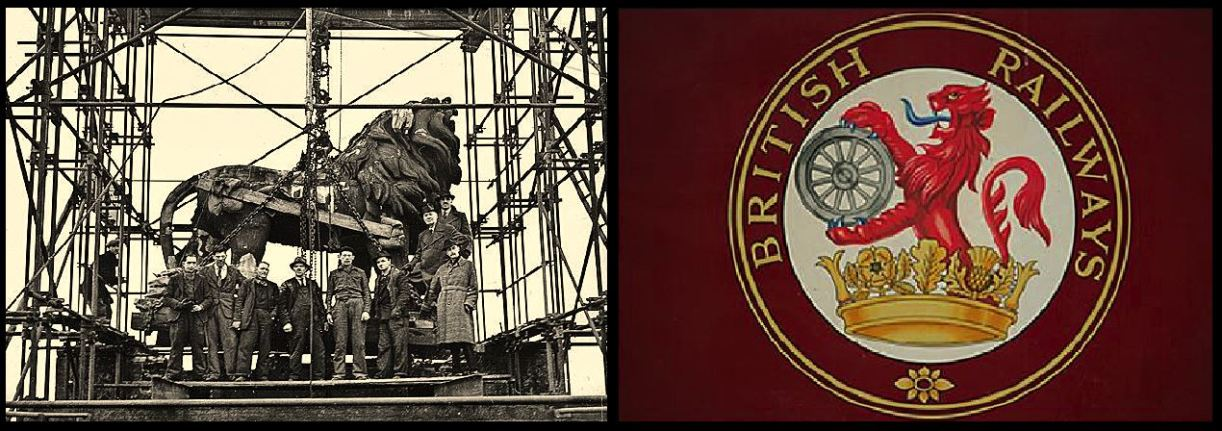 The Coade Stone Lion being removed from the brewery in 1949 (left) and the symbol for British Railways (right)