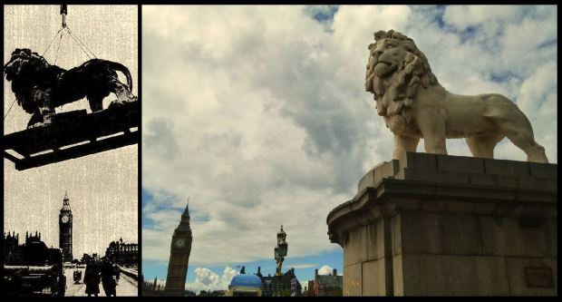 The Coade Stone Lion being moved to Westminster Bridge in 1966 (left) and the sculpture today (right)