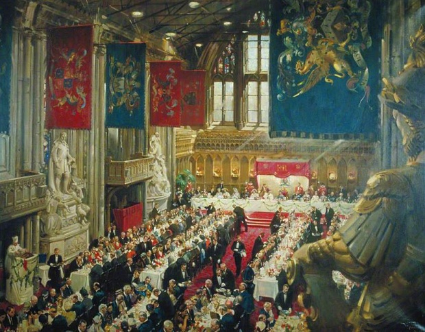 Coronation Luncheon at London's Guildhall, Terence Cuneo, 1953