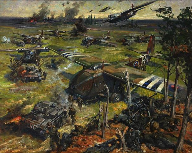 War scene by Terence Cuneo, 1944
