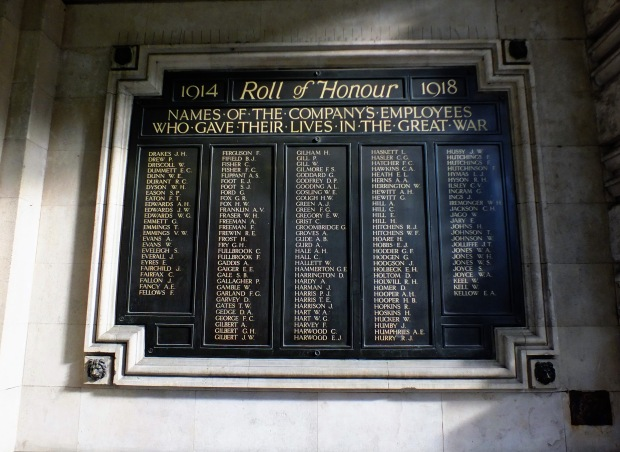 One of a number of plaques inside Waterloo's main entrance listing the many men of the London and South Western Railway who died serving their country.