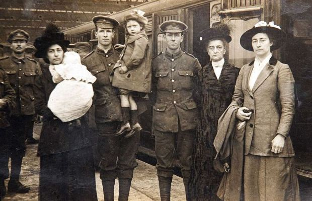 Troops say goodbye to their families at Waterloo Station before heading for battle (image: Christian Broom).