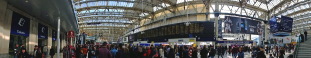 Panorama of Waterloo station's concourse
