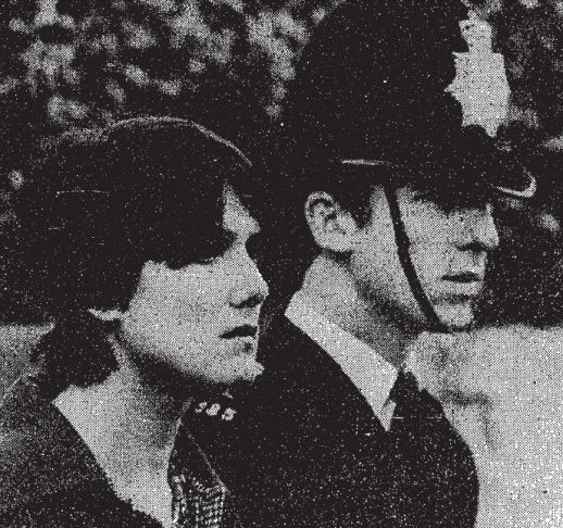 WPC Angela Seeds with a colleague at Frank O'Neill's funeral, November 1980 (image: The Guardian)