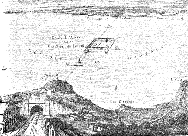 Sketch of Thome de Gamond's proposal which also included a harbor in the middle of the Channel