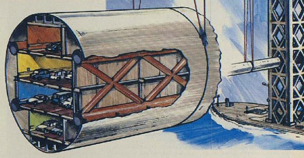 Cross-section of the tube containing road decks which would hung from the proposed Eurobridge (image: London Illustrated News)
