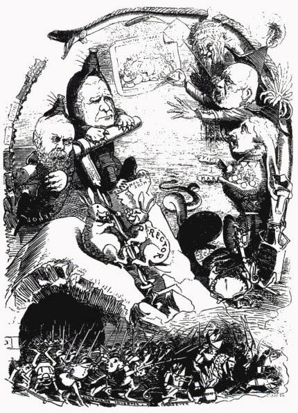 'Hopes and Fears'; an 1882 cartoon from 'Punch' magazine, commenting on early Channel tunnel attempts