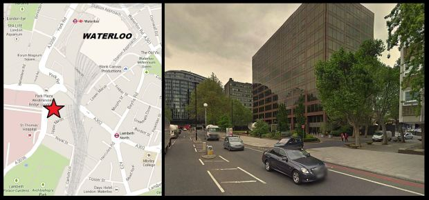 Approximate location of Dr Cream's lodgings and Lambeth Palace Road today.