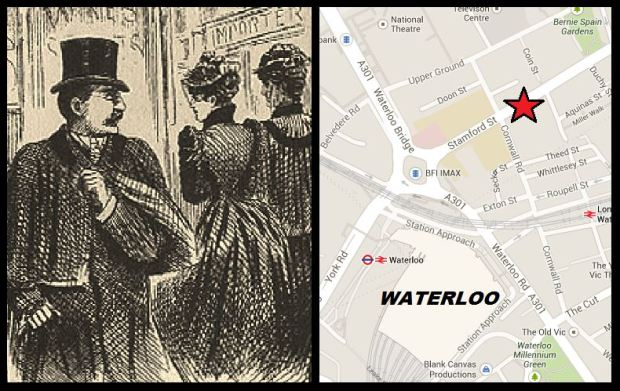 Map of Stamford Street and Victorian magazine sketch depicting Dr Cream stalking Alice and Emma